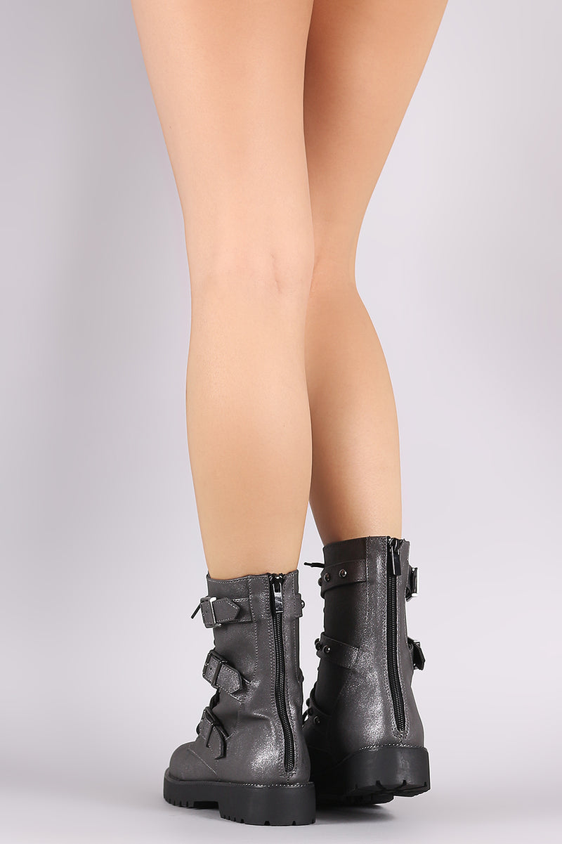 Bamboo Studded Triple Buckled Strap Lace-Up Combat Boots