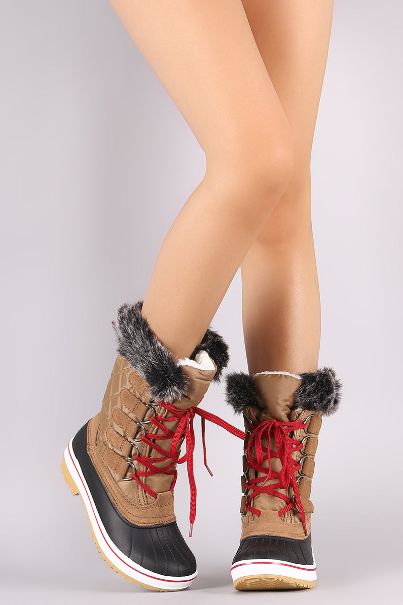 5218191f43938 Quilted Puffy Nylon Lace Up Mid Calf Duck Boots – DirtySouthVintage.com