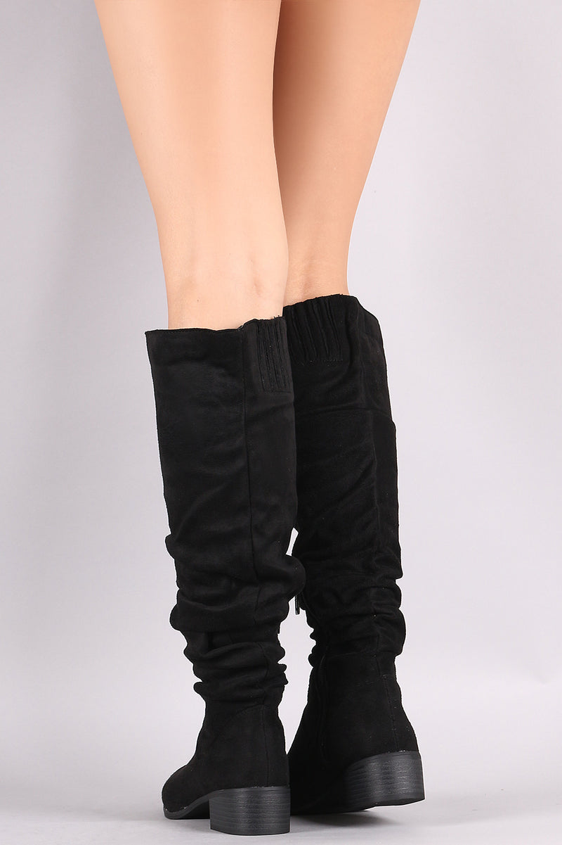 Slouchy Almond Toe Riding Knee High Boots