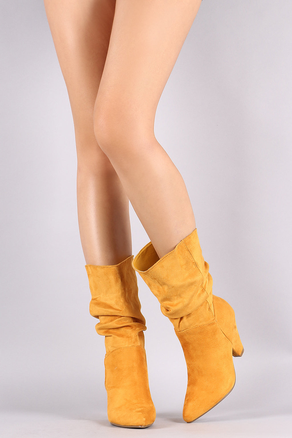 Pointy Toe Slouchy Cone Heeled Mid Calf Boots