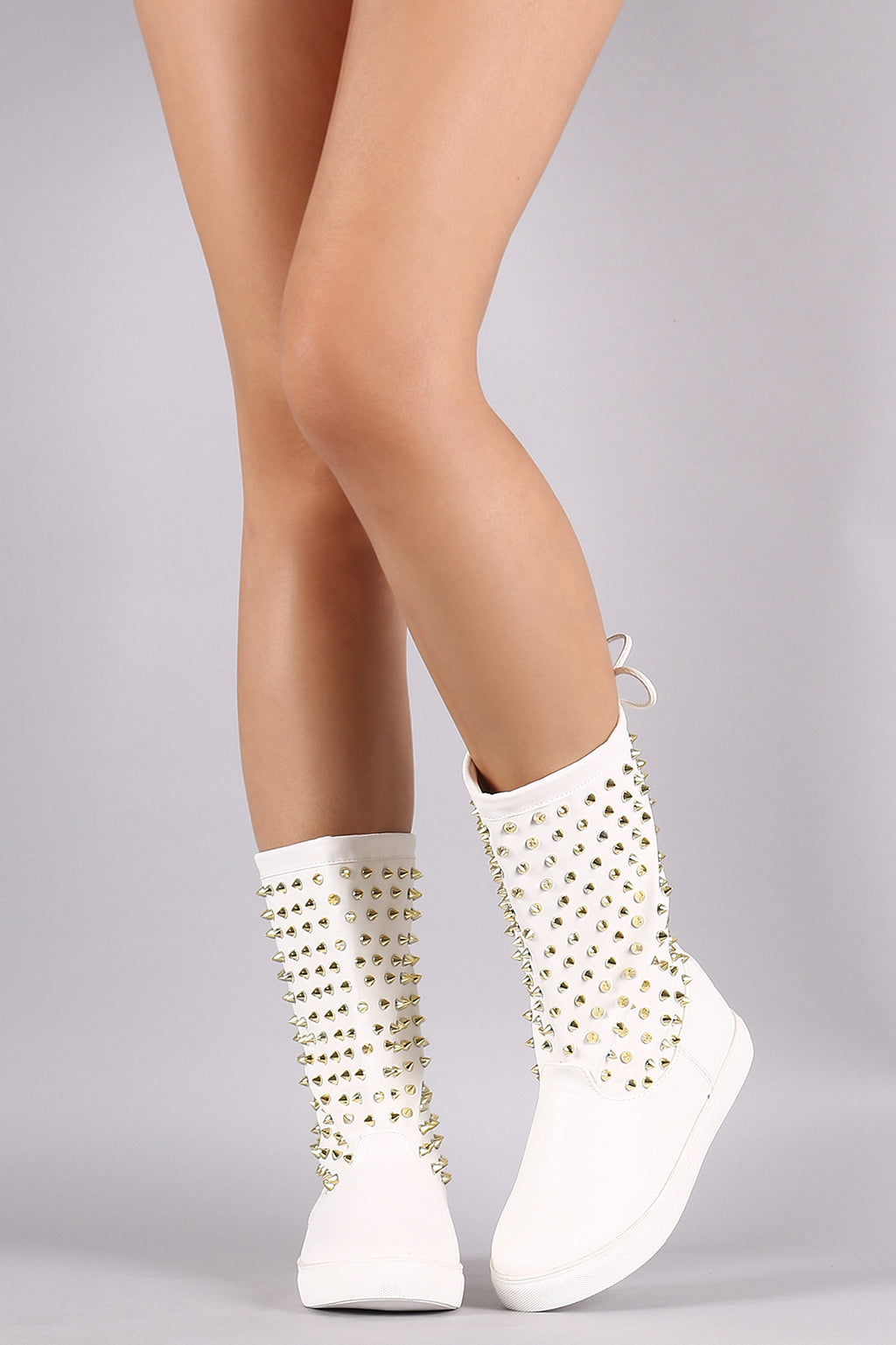 Liliana Spikes Embellished Drawstring Mid Calf Sneaker Boots