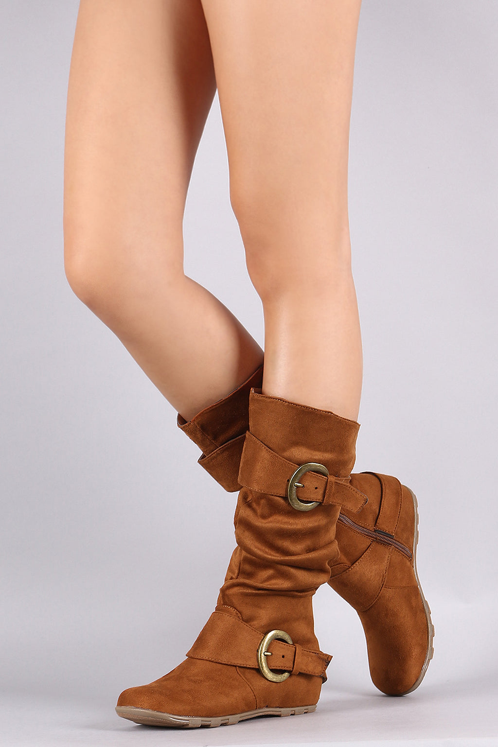 Bamboo Slouchy Double Buckled Accent Hidden Wedge Boot