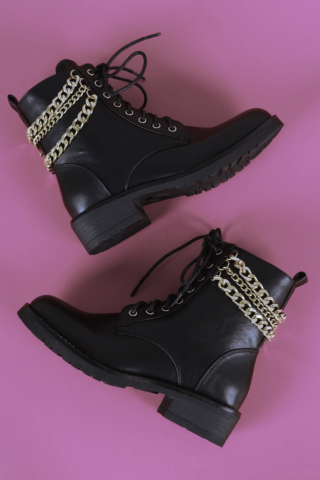 5b23cd43590 Liliana Chains Accent Combat Lace-Up Ankle Boots – DirtySouthVintage.com