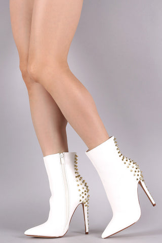 Anne Michelle Rhinestone Accent Pointy Toe OTK Boots
