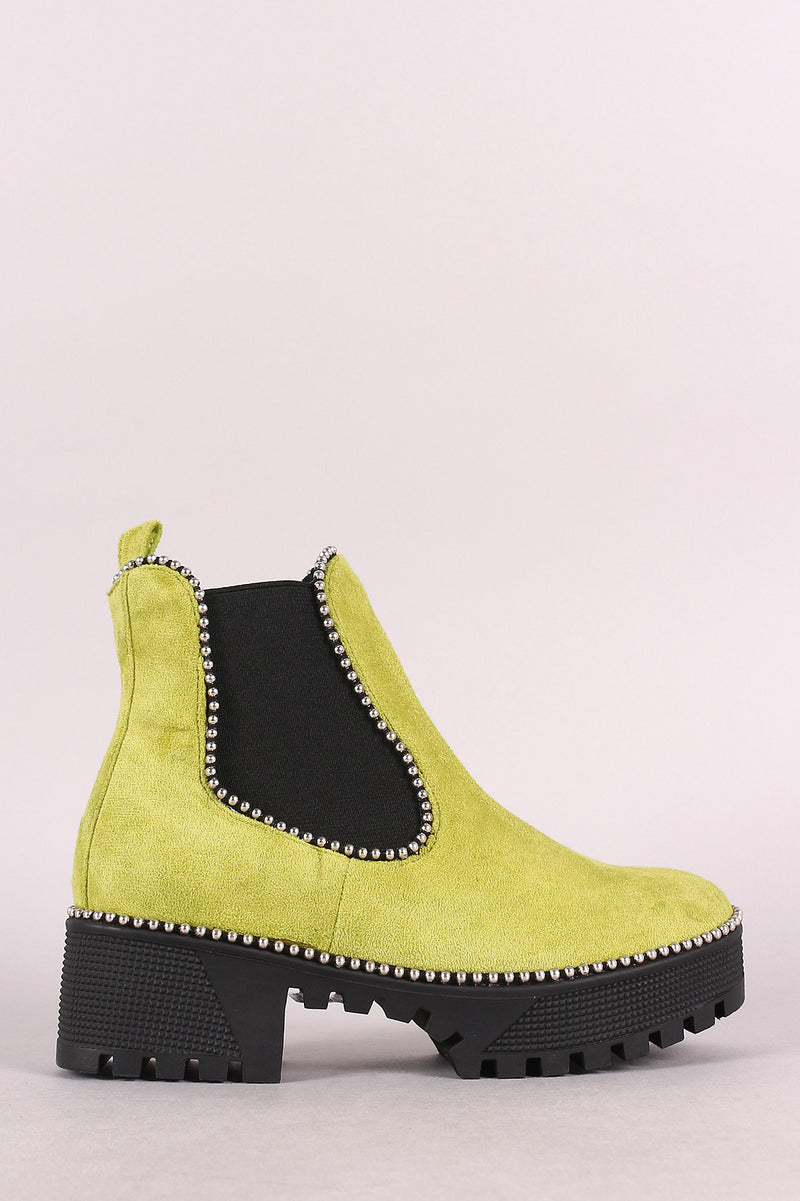 Beaded Trim Lug Sole Flatform Gore Ankle Booties