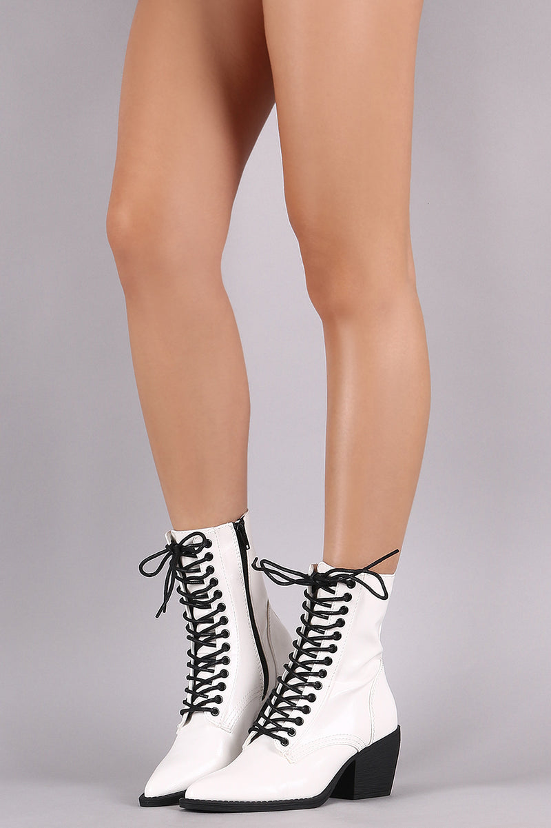 Shoe Republic LA Pointy Toe Lace-Up Western Ankle Boots