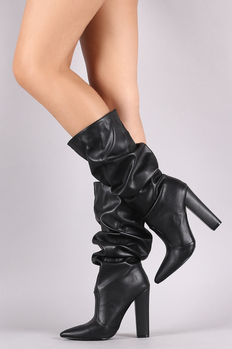 Shoe Republic LA Slouchy Pointy Toe Chunky Heeled Boots