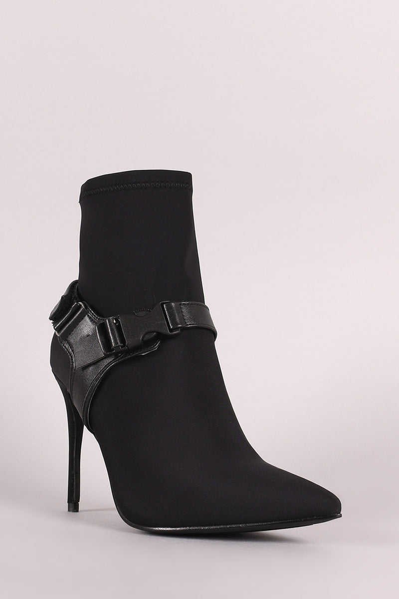 Pointy Toe Harness Buckle Strap Stiletto Booties