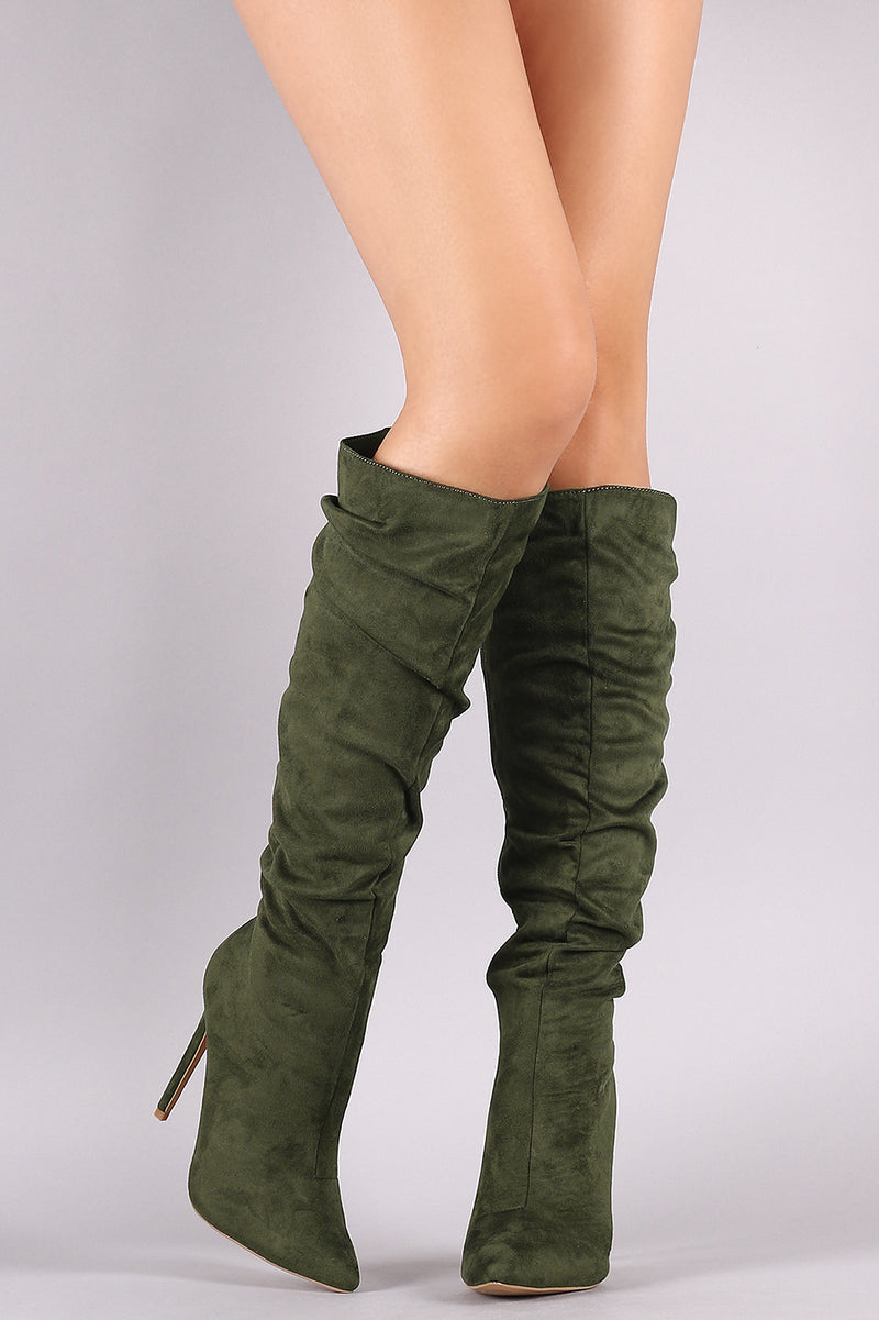 Slouchy Pointy Toe Stiletto Knee High Boots