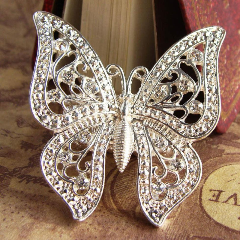 Silver Color Ladies Vintage Look Butterfly Fashion Gothic Stretch Size Adjustable