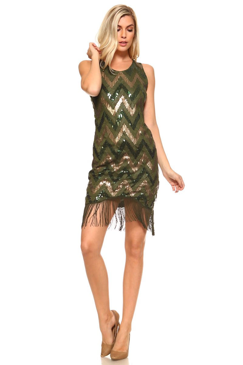 Women's Fringed Bottom Zig-Zag Sequinned Dress