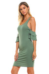 Women's Cold Shoulder Ruffle Tank Dress