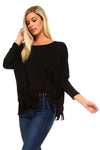 Ladies fashion high neckline ruffle frill hem long sleeve crop top