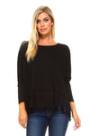Women's Long Sleeve Fringe Top