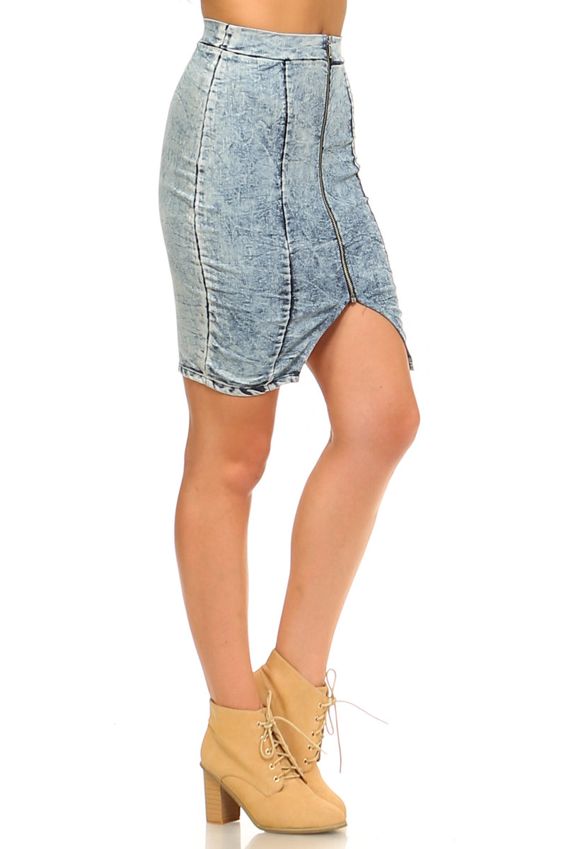 Women's Front Zipper Triangle Denim Skirt