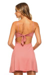 Ladies fashion sleeveless double v-neck w/strap ribbon tie sweater dress