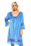 Women's 3/4 Three Quarter Sleeved Crochet Tunic Dress