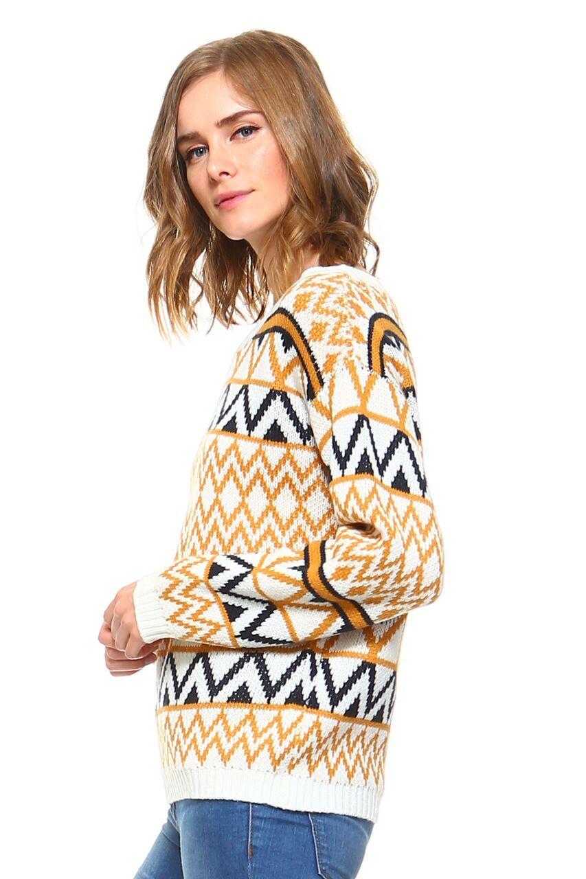 Women's Geometric Two-Toned Crewneck Knit Sweater