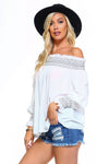 Women's Off Shoulder Stripe Smocked Elastic Top