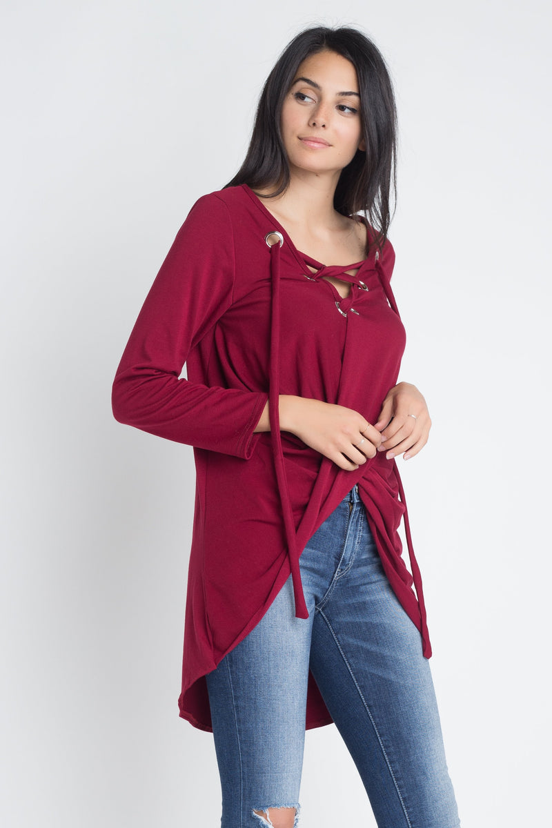 Women's Lace Up Wrap Long Sleeve Top