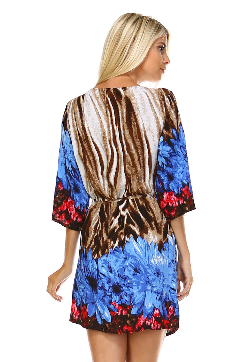 Women's Printed Waist Tie Zip-Up Dress