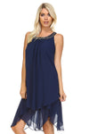 Women's 3/4 Three Quarter Cold Shoulder Key Hole Tank Dress