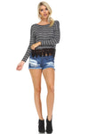 Women's Long Sleeve Stripe Hatchi Top with Crochet Front Hem