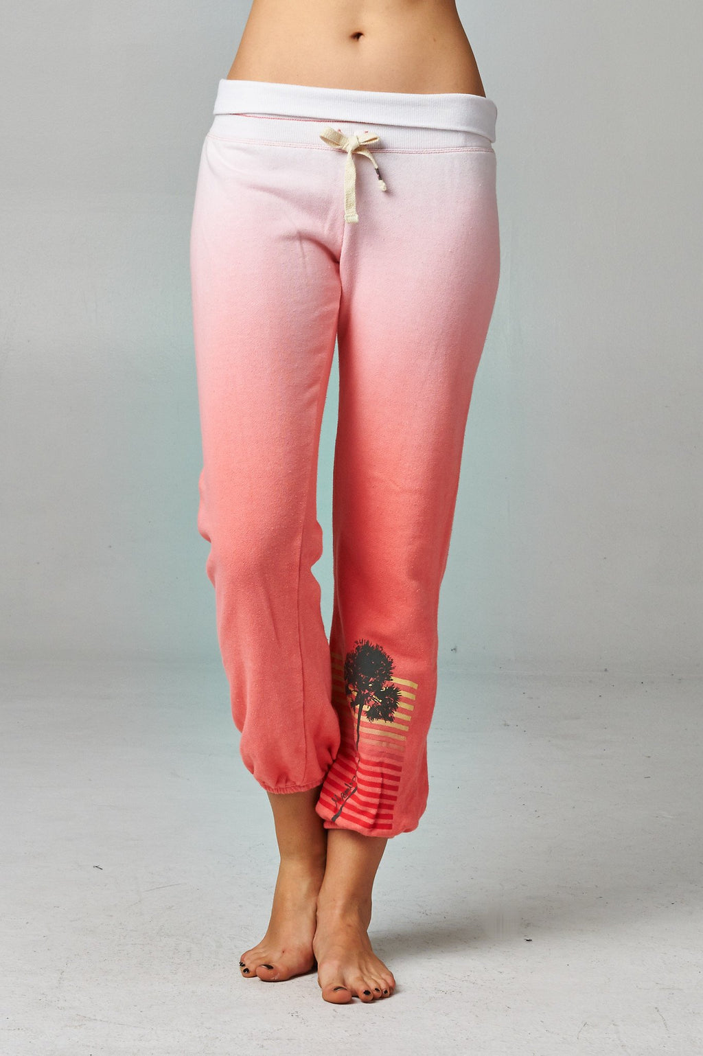 Women's Fold-over Waistband French Terry Dip Dye Screened Sweatpants