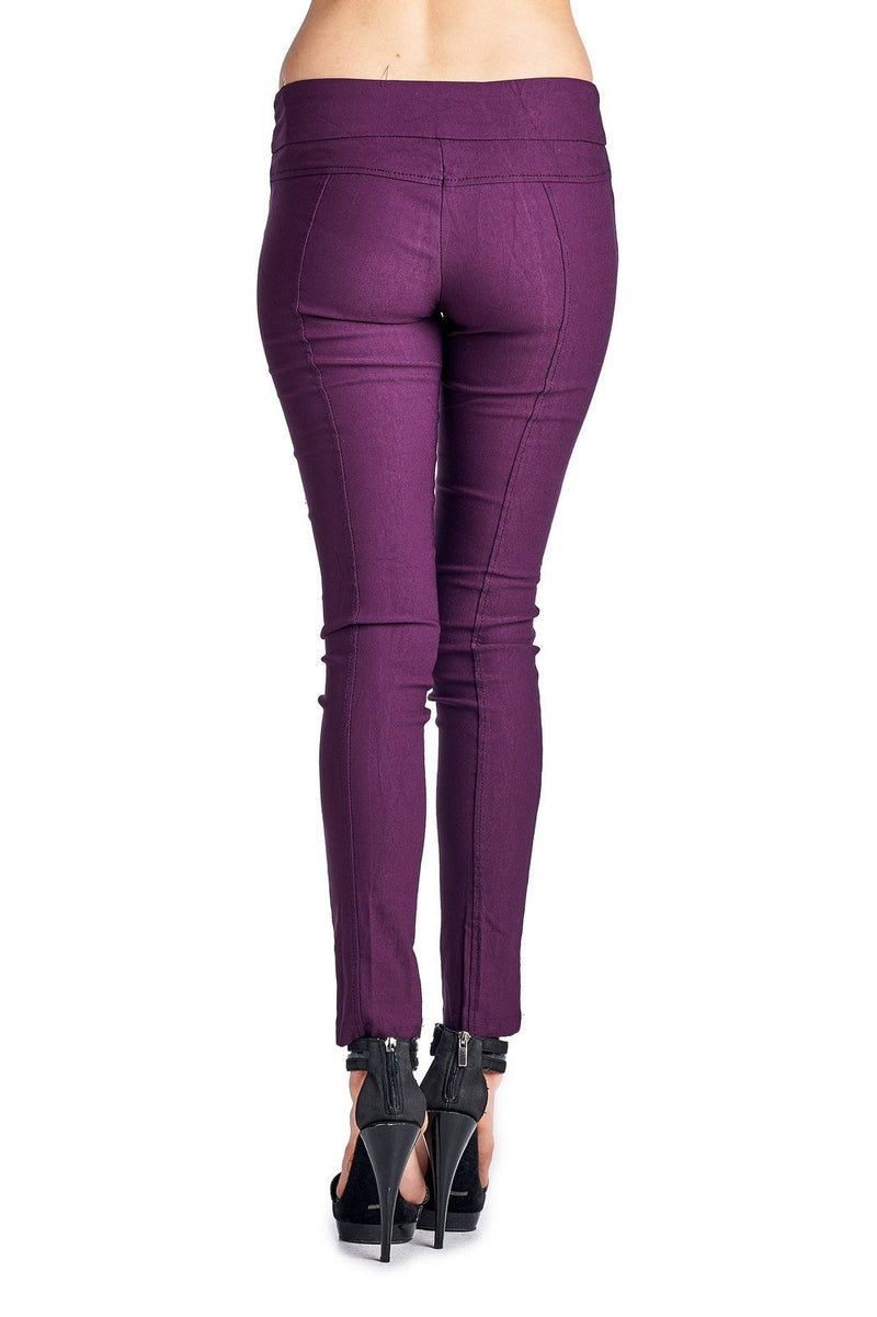 Women's Stretch Pants with Double Zipper Pockets