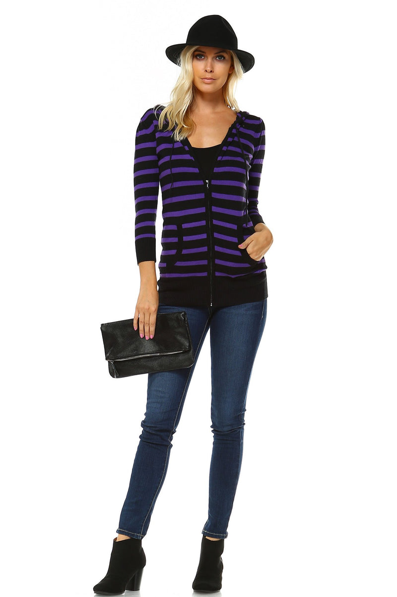 Women's 3/4 Three Quarter Sleeve Stripe Sweater