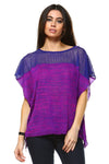 Ladies fashion pink color-block v-neck crossover top.