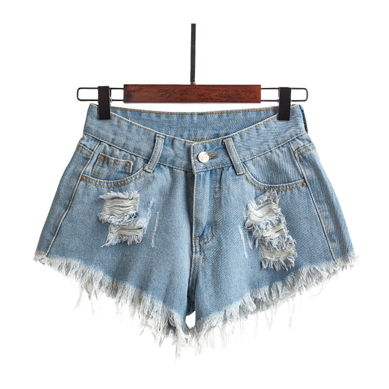 Woman Fashion Shorts Women's Casual Pocket Hole Jeans Female High Waist Slim Shorts For summer