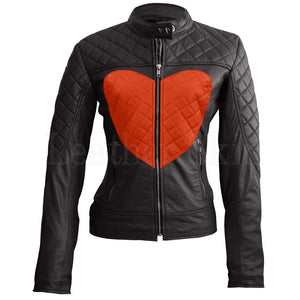 Women Black Orange Heart Leather Jacket.