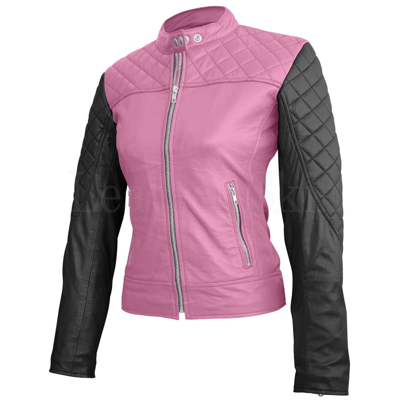 Women Pink Quilted Leather Jacket.