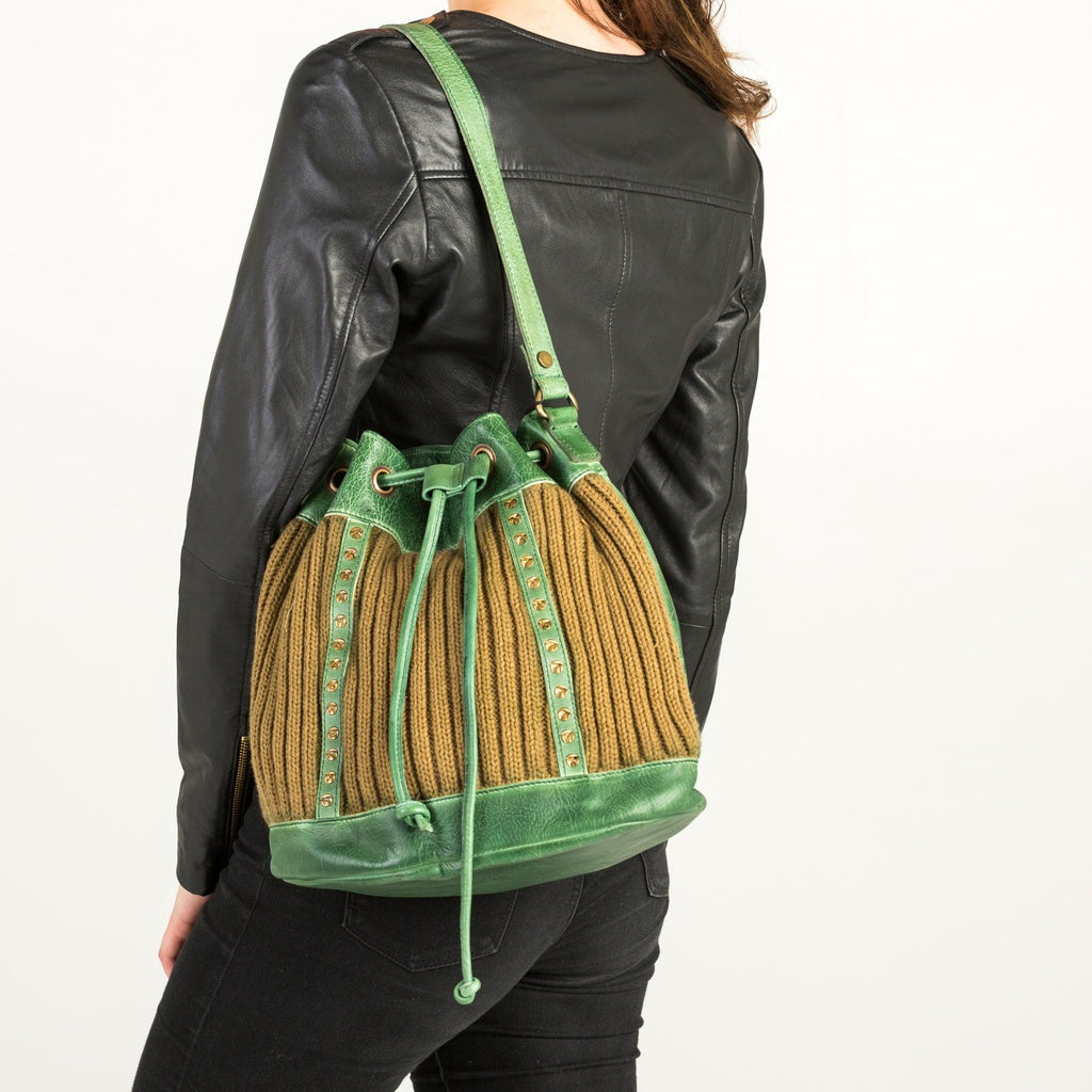 Leather Draw String Bag