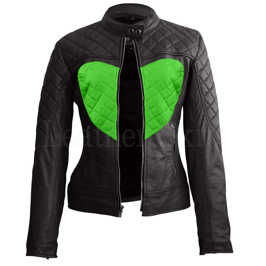 Women Black Green Heart Leather Jacket.