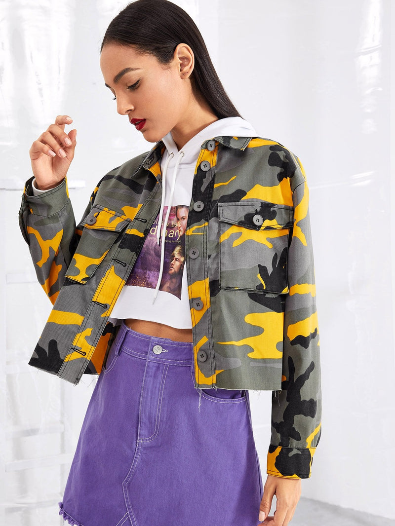 Flap Pocket Front Camo Jacket