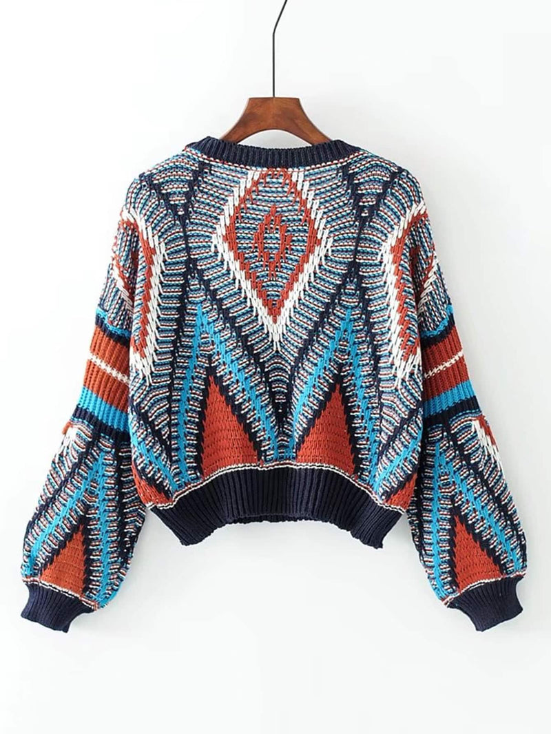 Geometric Pattern Loose Sweater
