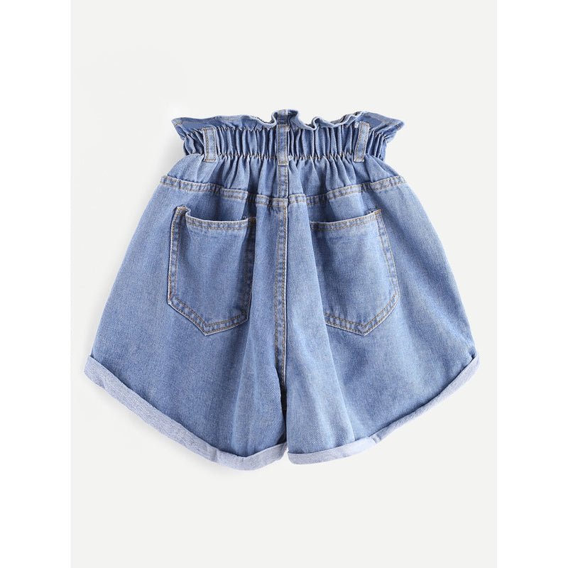 Shirred Frill Trim Ripped Rolled Hem Denim Shorts.