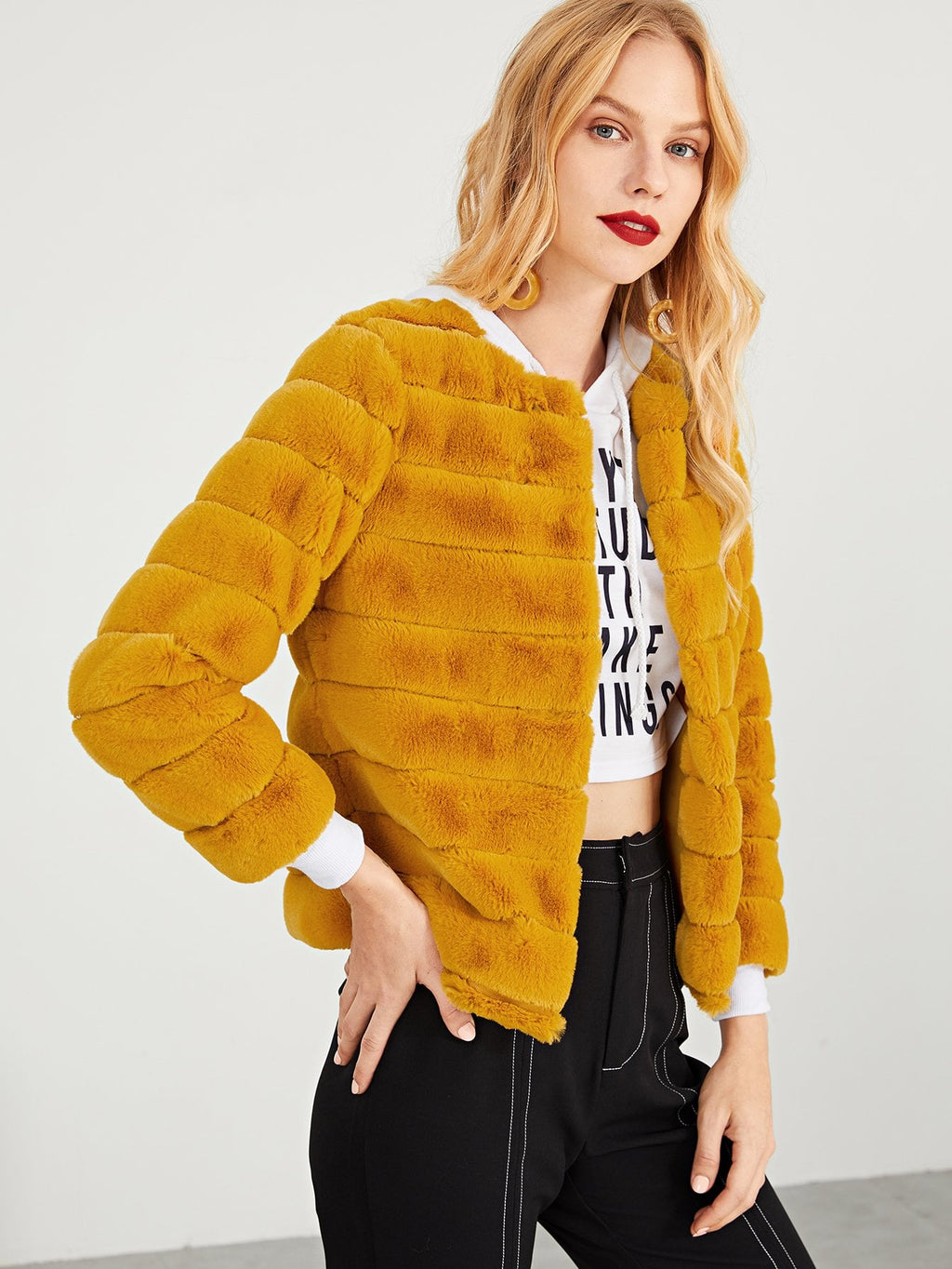 Yellow Faux Fur Solid Coat