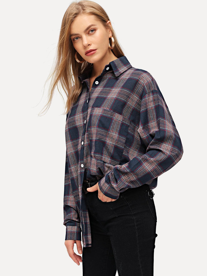 Plaid Single-breasted Blouse