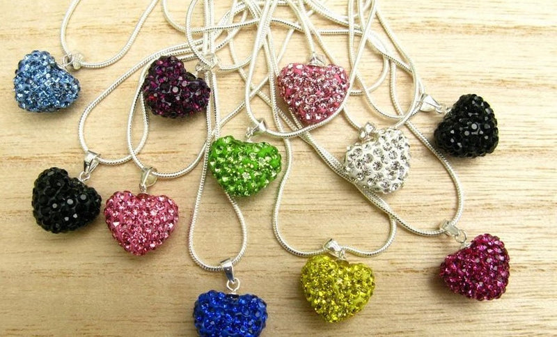 Beaded Heart Necklace, Super Cute! Many Colors
