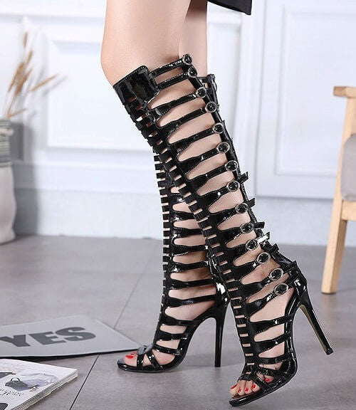 Sexy Black High Strap Up Shoes, All Sizes