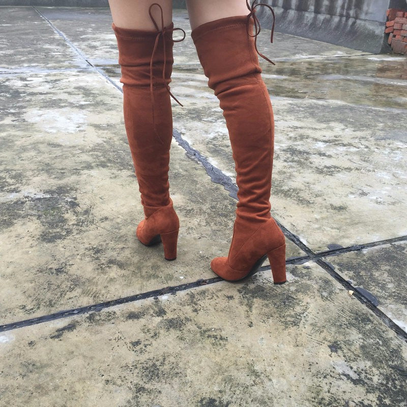 Rad BoHo Hipster Knee High Stretch Faux Suede Boots, All Colors & Sizes