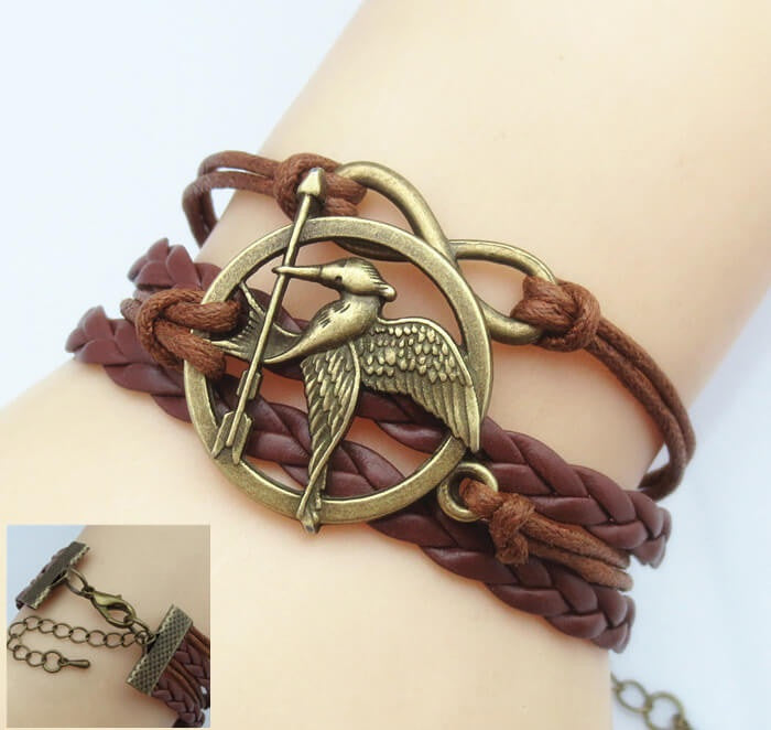 Unisex Love Birds Arrow Bracelet Faux Leather Band Cool