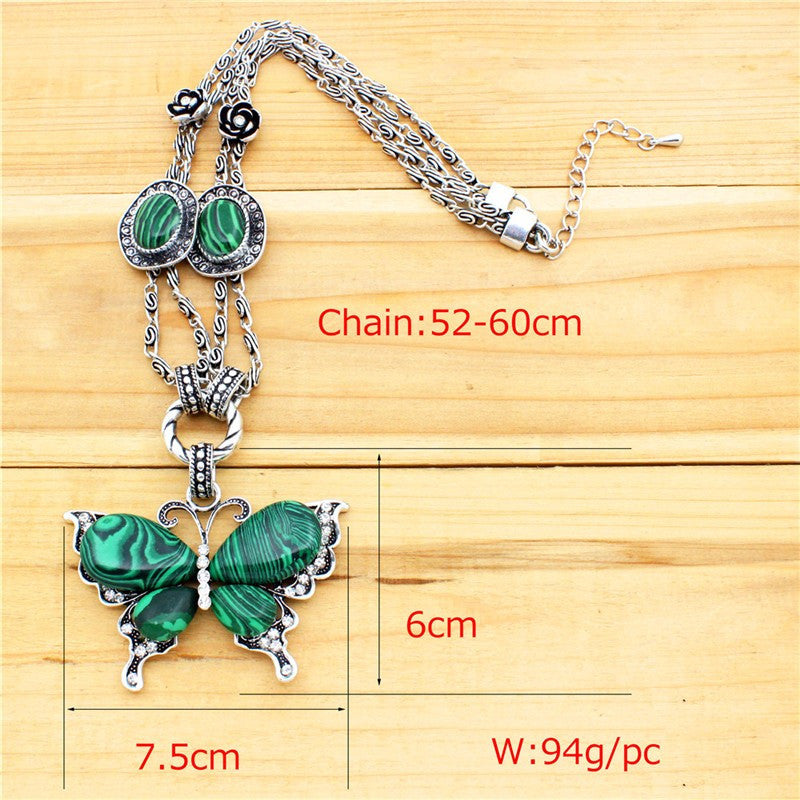 Vintage Inspired Necklace, Pretty Pendant, Tibetan Alloy Antique Silver Plated, Butterfly