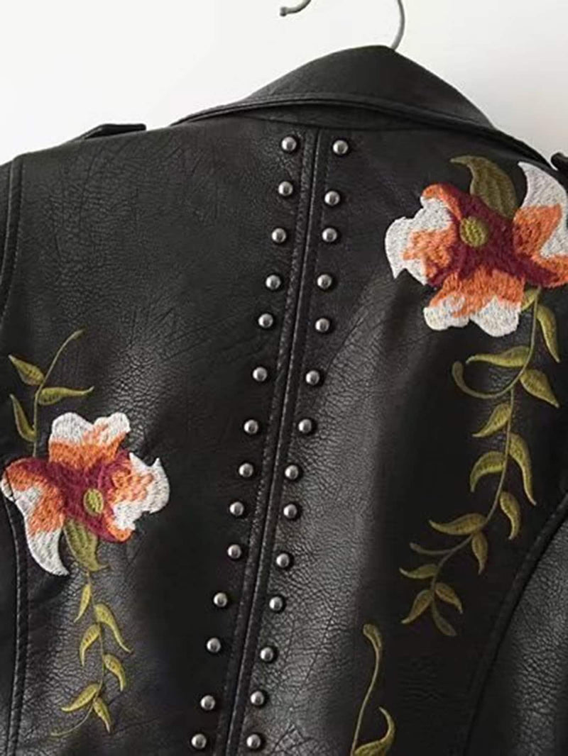 Flower Embroidery Studded Detail PU Biker Jacket