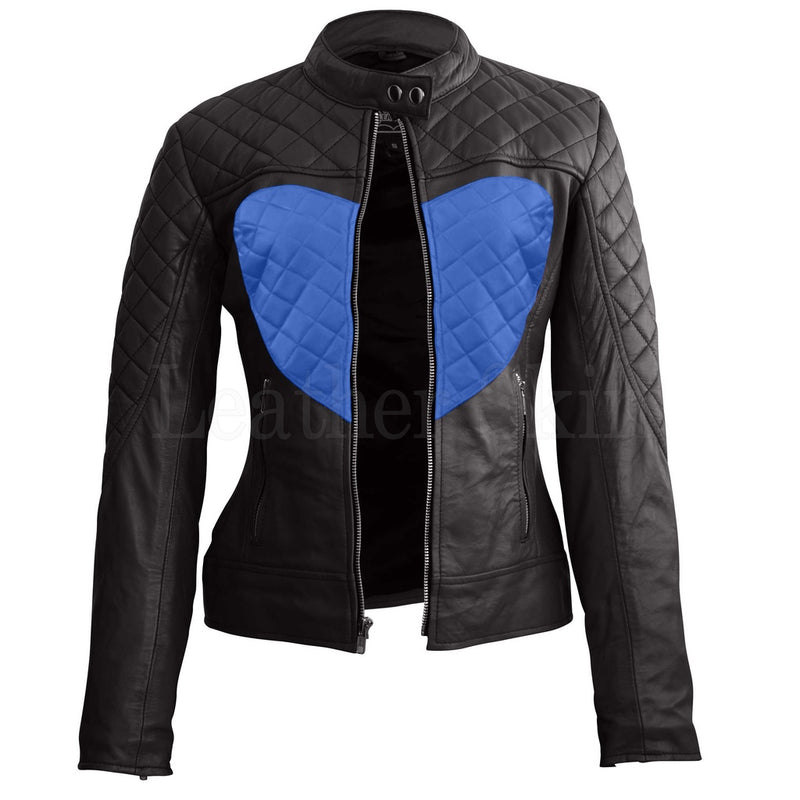 Women Black Blue Heart Leather Jacket.