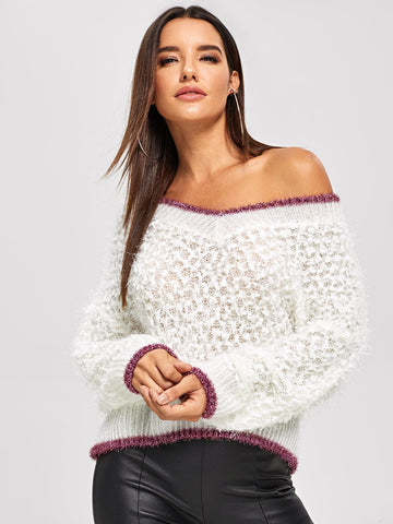 Color Block Marled Knit Jumper Sweater!