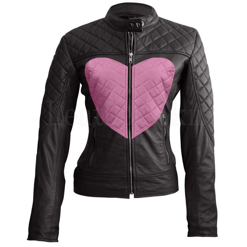 Women Black Pink Heart Leather Jacket